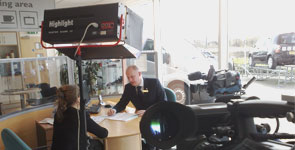Media Inventions shooting a customer service training video preoduction at Platinum Renault, Trowbridge