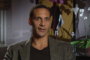 Rio Ferdinand being filmed by Media Inventions for a corporate motivational video production